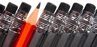 Black Pencils Erasers With One Red Pencil Tip Thumbnail