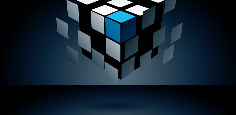Blue and White Rubiks Cube Floating Feature