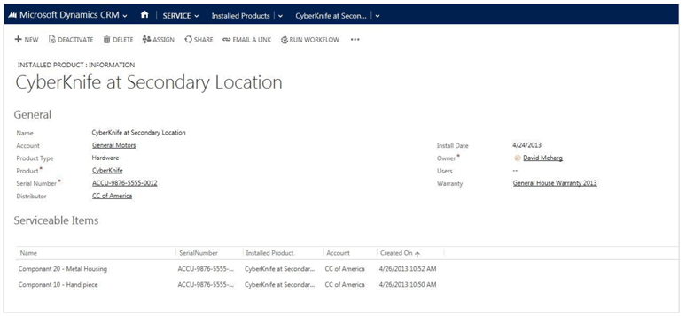 Installed Products in Microsoft CRM