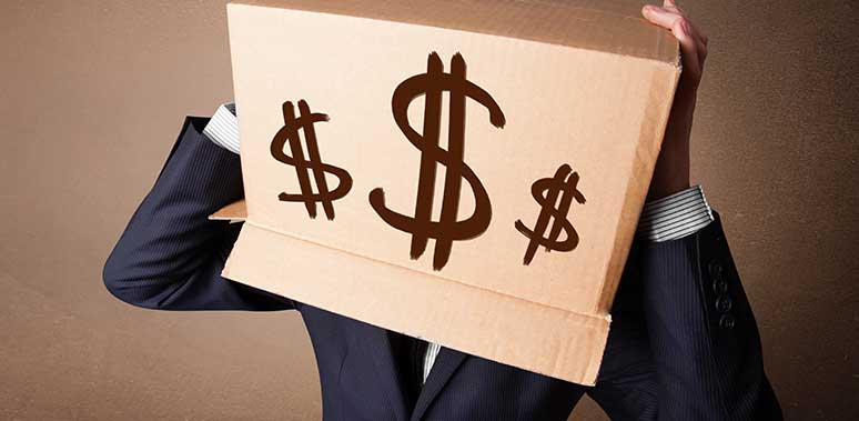 Man in Suit With Box On Head Dollar Signs Feature