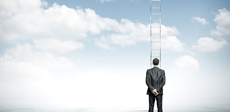 Man Near Ladder Cloud Background Feature