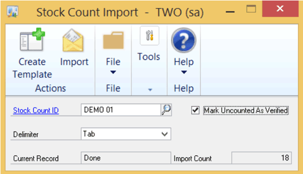 Microsoft Dynamics GP Stock Count Import Module