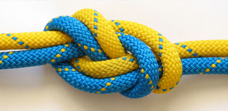 Yellow and Blue Ropes Knotted Feature