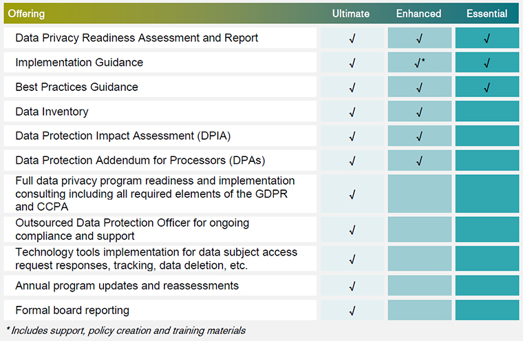 Armanino Data Privacy Managed Services Chart
