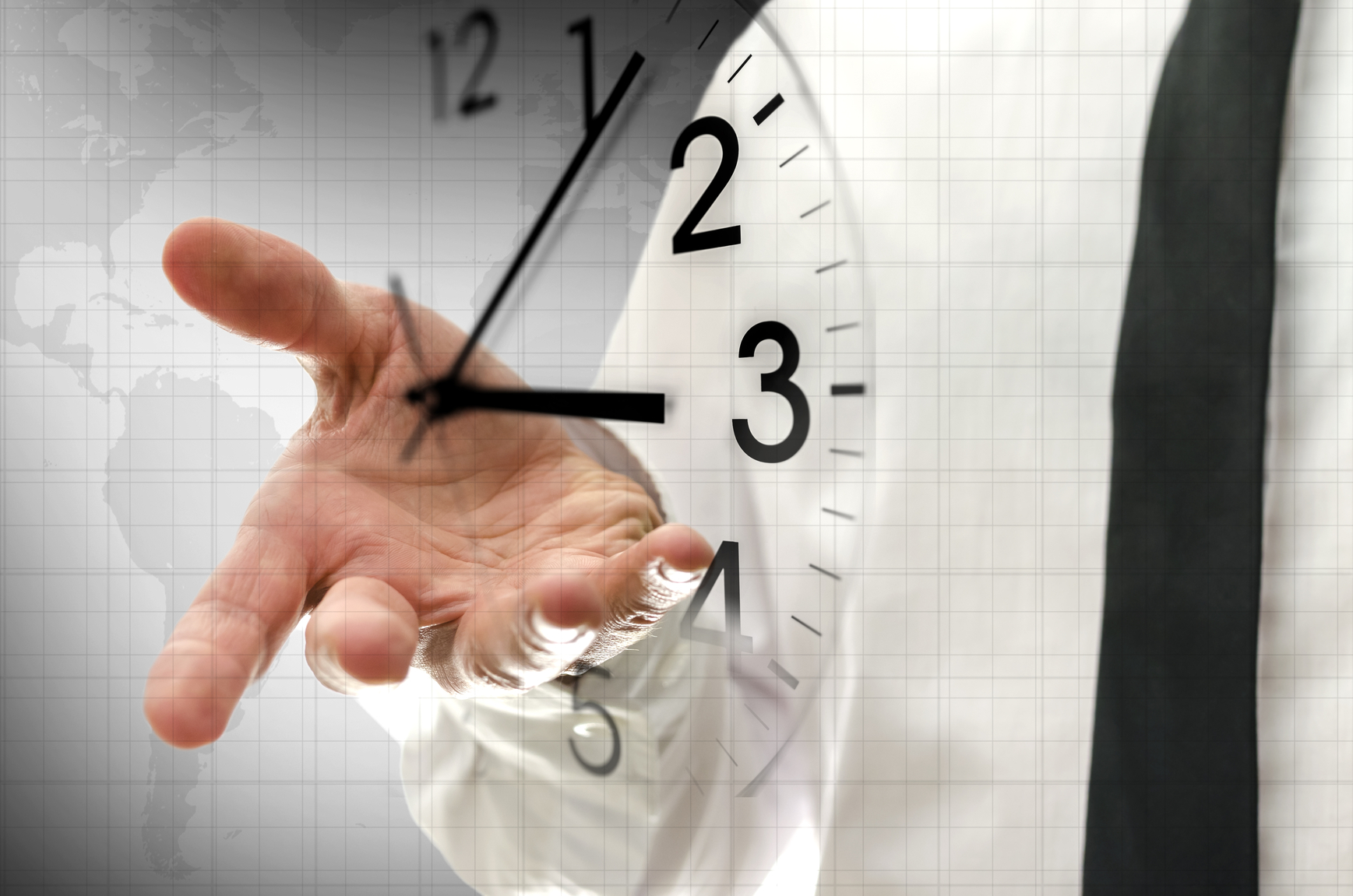 Business Man Hand With Clock XLarge