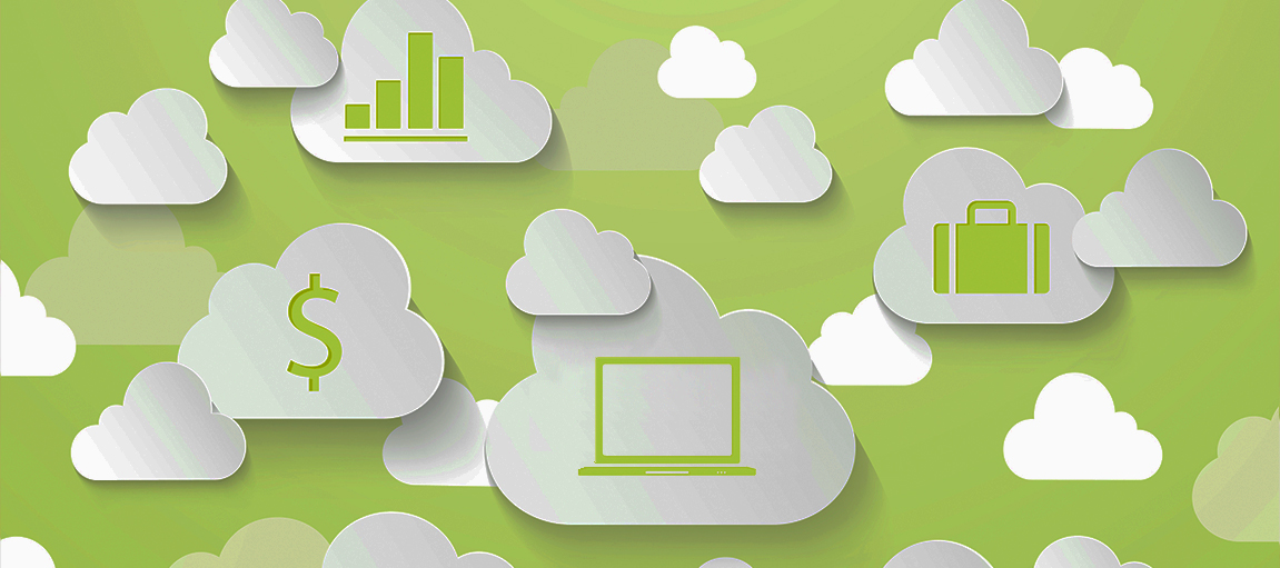 Digital Clouds on Green Background Banner
