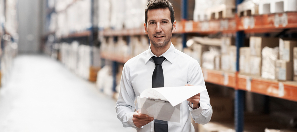 Man Working In Warehouse Banner