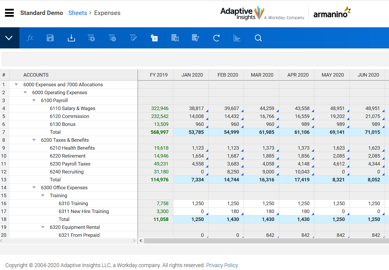Workday Adaptive Planning Expenses